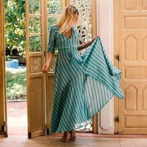 Spell & The Gypsy Island Boho Gown in Turquoise Size Small